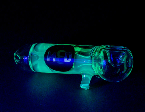 3MD Glycerin Hand Pipe Green with Blue-green UV