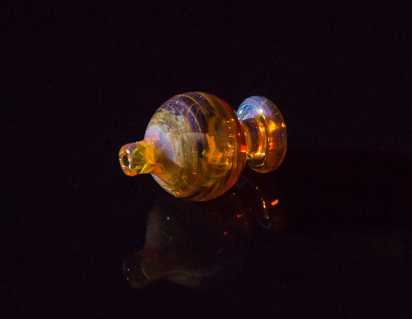 Barry Glass Mini Peak Bubble Carb Cap Amber Purple