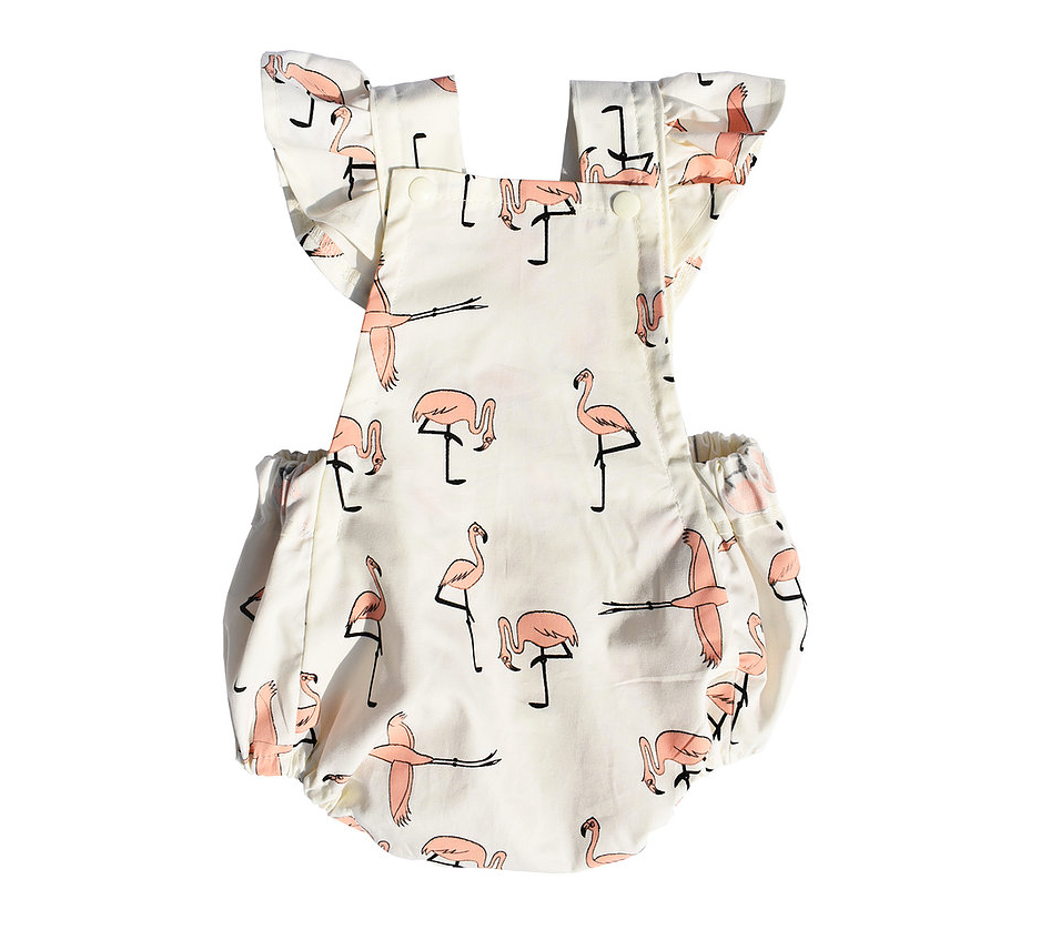 Flamingo Playsuit with Ruffle Straps