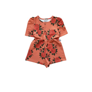 Roses Pink Puffed Playsuit