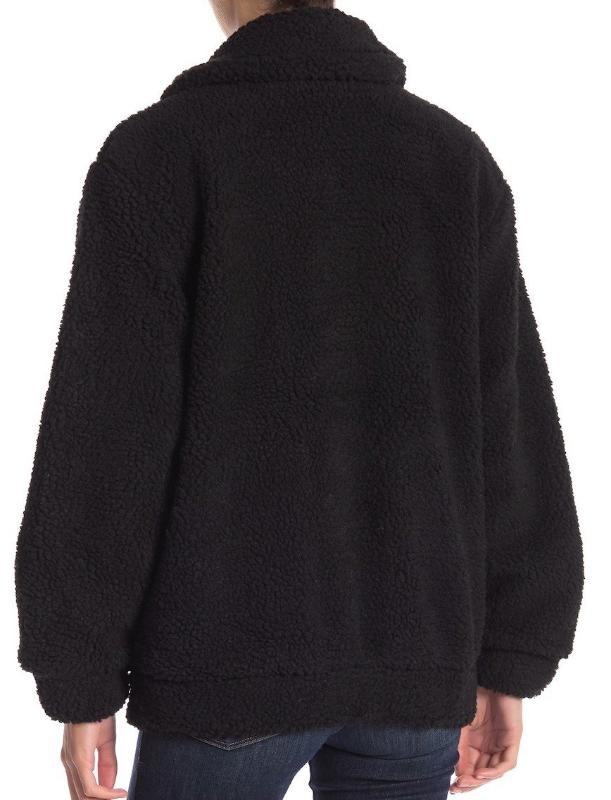 Faux Fur Sherpa Fleece Jacket in Black