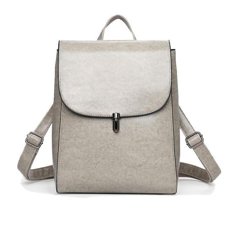 Faux Leather Pin Backpack in Grey