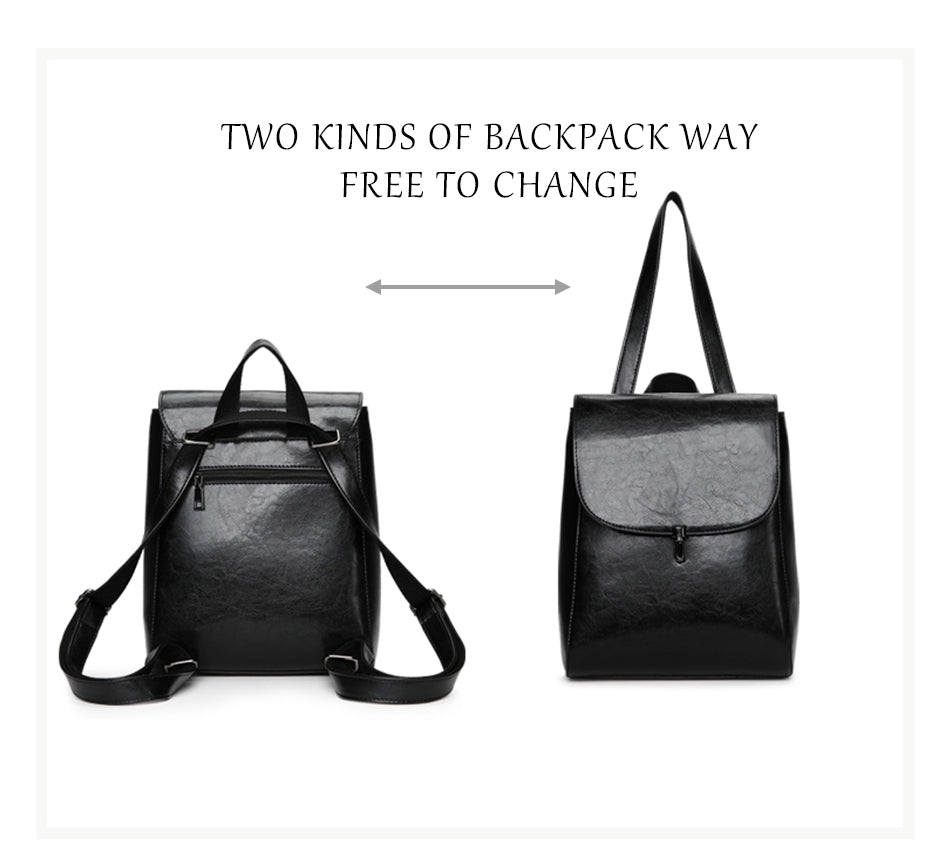 Faux Leather Pin Backpack in Black