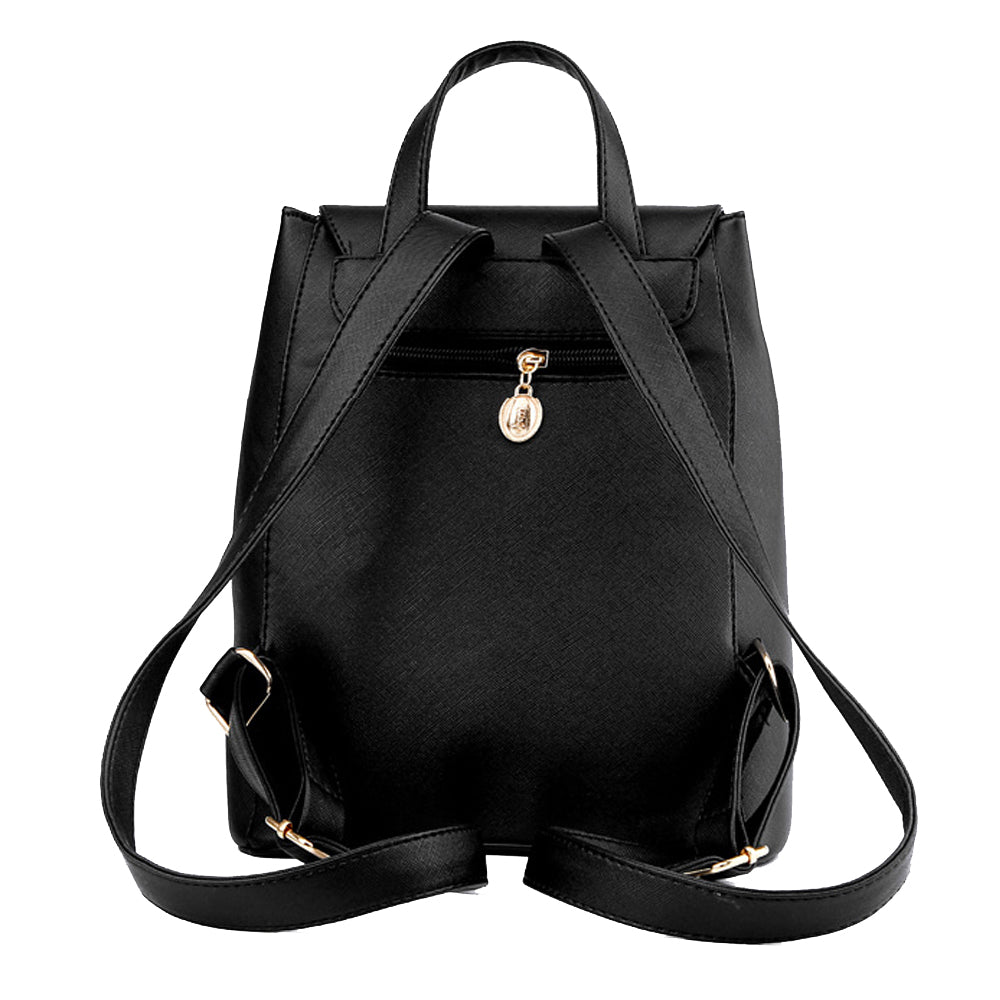 Faux Leather Side Zip Backpack in Black