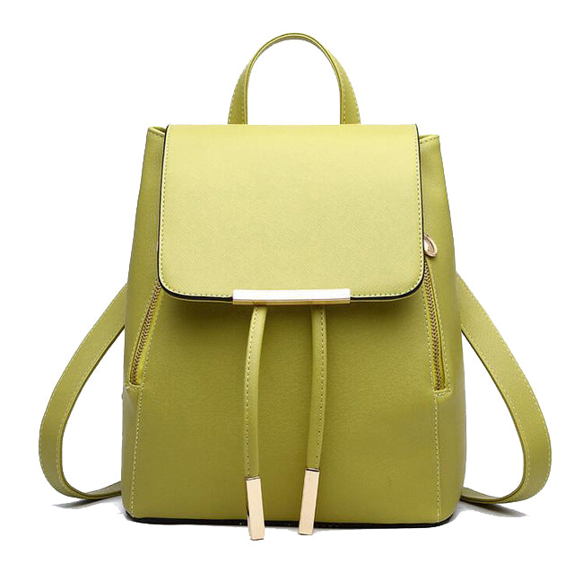 Faux Leather Side Zip Backpack in Green