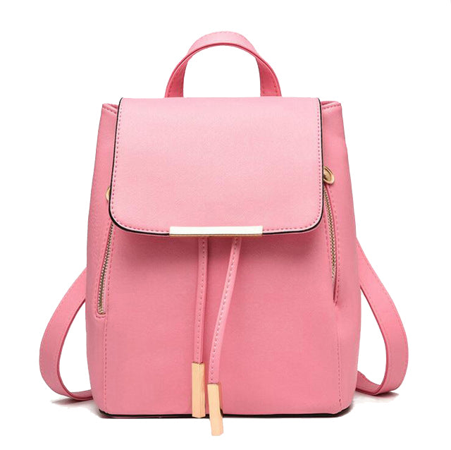 Faux Leather Side Zip Backpack in Pink