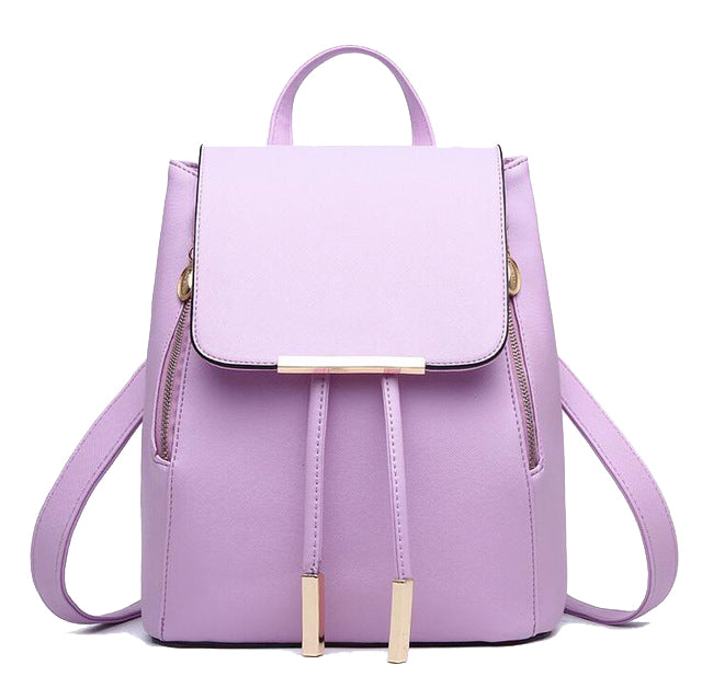 Faux Leather Side Zip Backpack in Purple