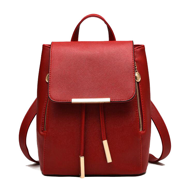 Faux Leather Side Zip Backpack in Red