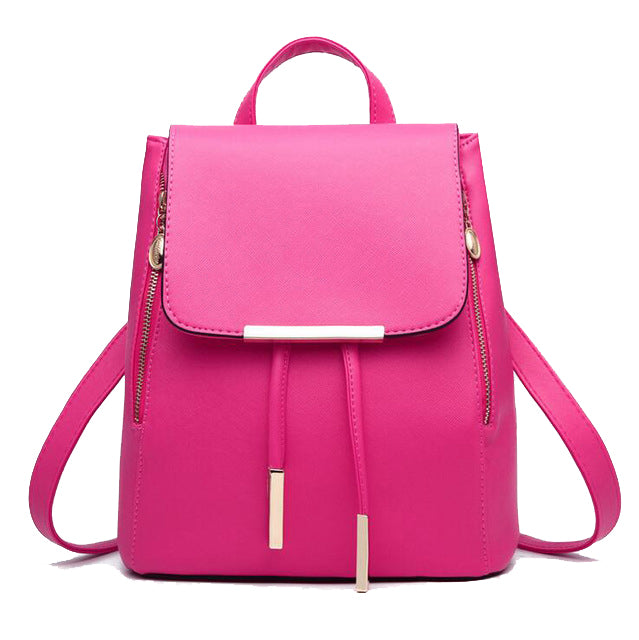 Faux Leather Side Zip Backpack in Hot Pink