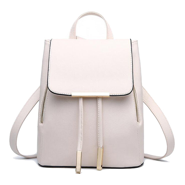 Faux Leather Side Zip Backpack in Ivory