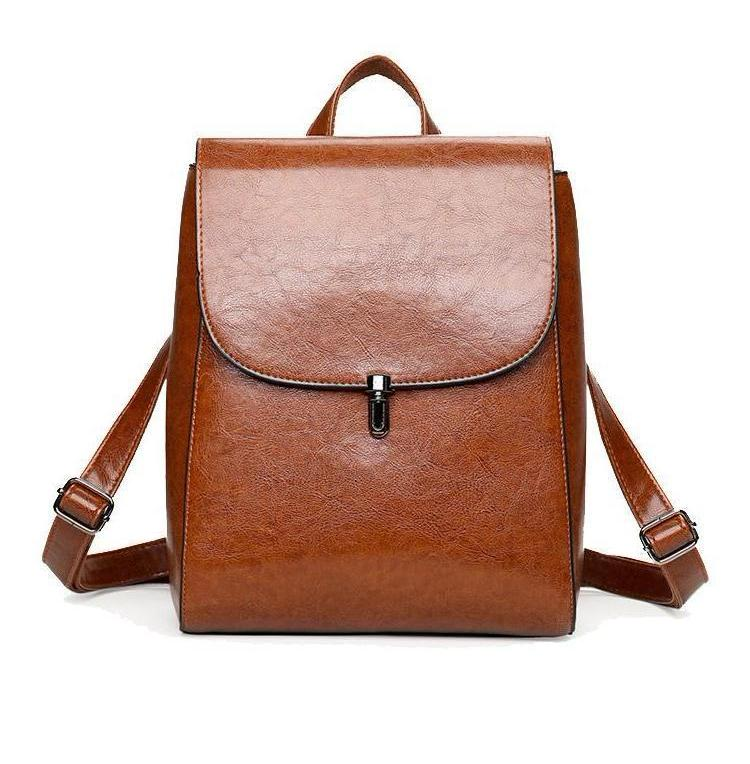 Faux Leather Pin Backpack in Tan Brown