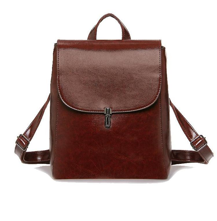 Faux Leather Pin Backpack in Coffee