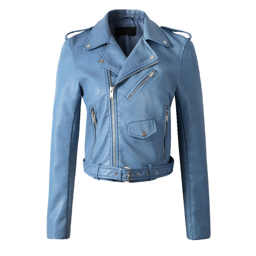 Classic Biker Jacket in Blue