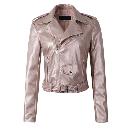 Classic Biker Jacket in Metallic Pink