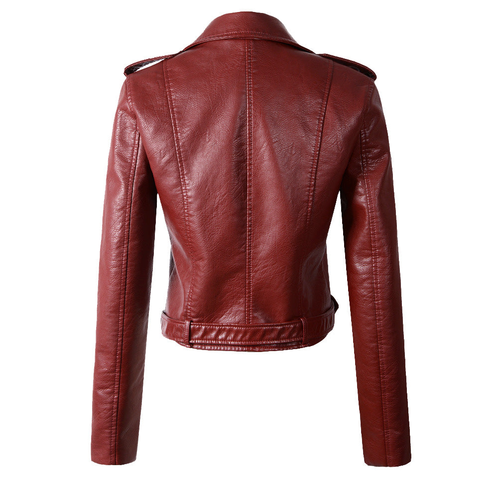 Classic Biker Jacket in Wine Red