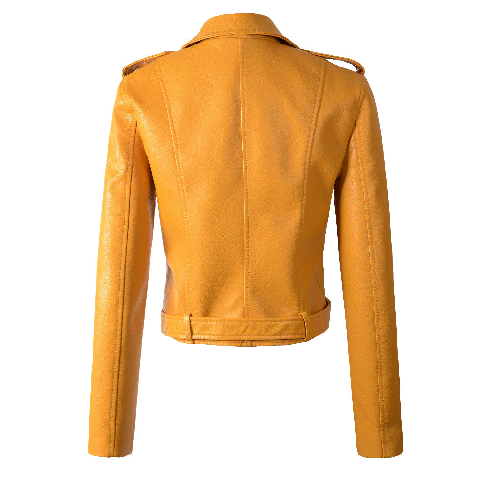 Classic Biker Jacket in Golden Yellow