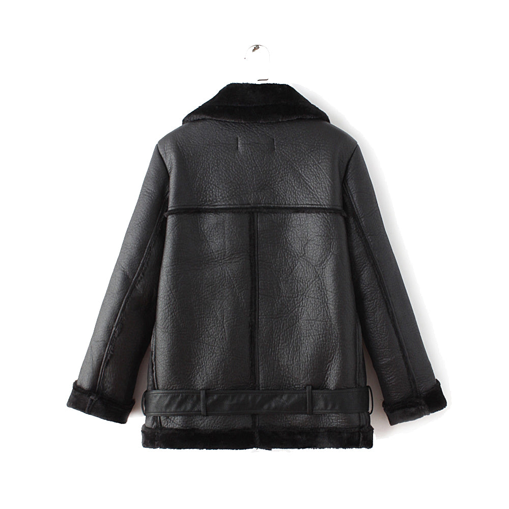 Faux Fur Shearling Leather Biker Jacket in Black