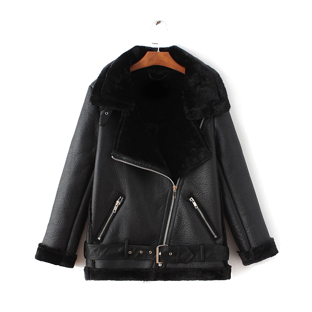coupon codes 100% satisfaction special price for Faux Fur Shearling Leather Biker Jacket in Black