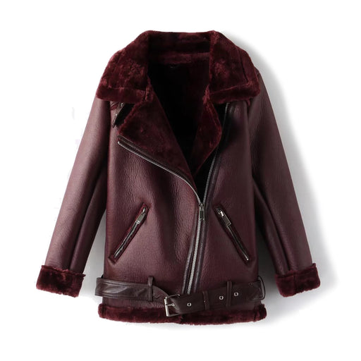 Faux Fur Shearling Leather Biker Jacket in Burgundy