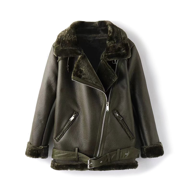 Faux Fur Shearling Leather Biker Jacket in Dark Green