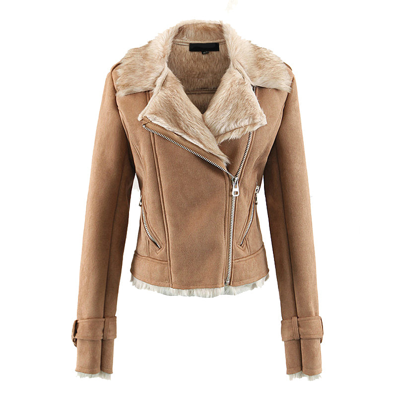 Faux Fur Shearling Suede Biker Jacket in Tan