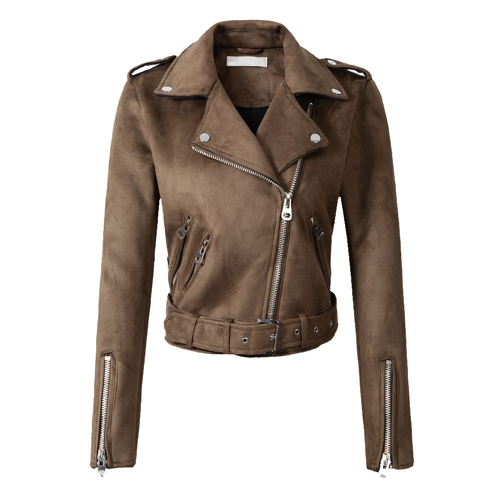 Classic Biker in Brown Suede