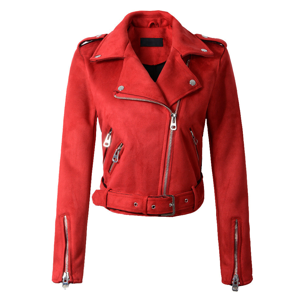Classic Biker in Red Suede