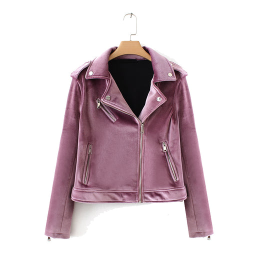 Biker Jacket in Purple Velvet