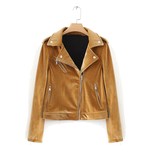 Biker Jacket in Tan Velvet