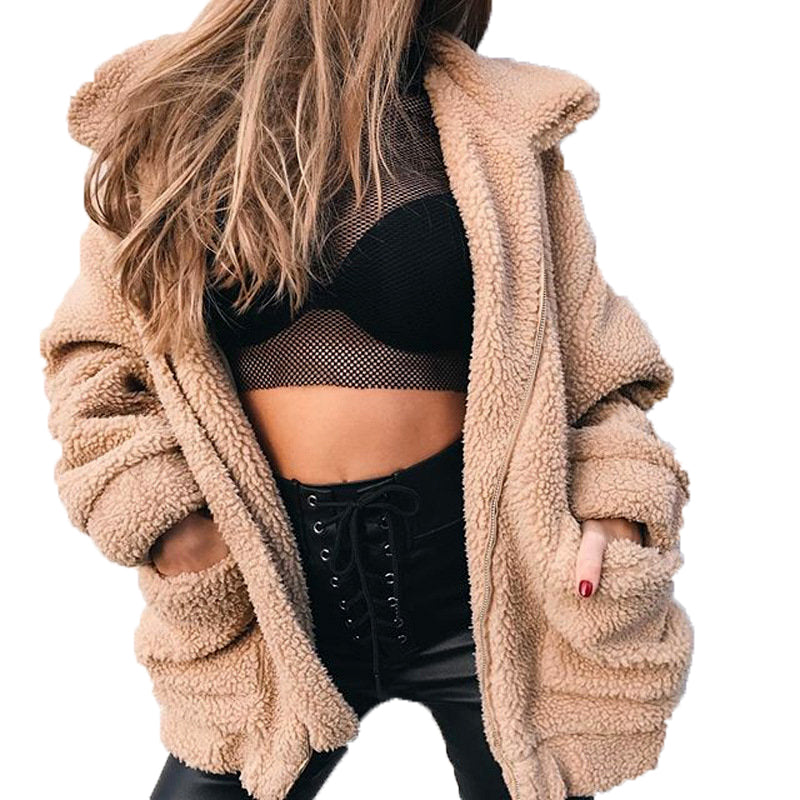 Faux Fur Sherpa Fleece Jacket in Camel