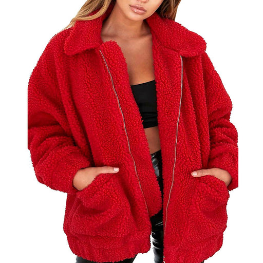 Faux Fur Sherpa Fleece Jacket in Red