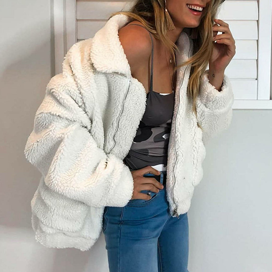 Faux Fur Sherpa Fleece Jacket in White