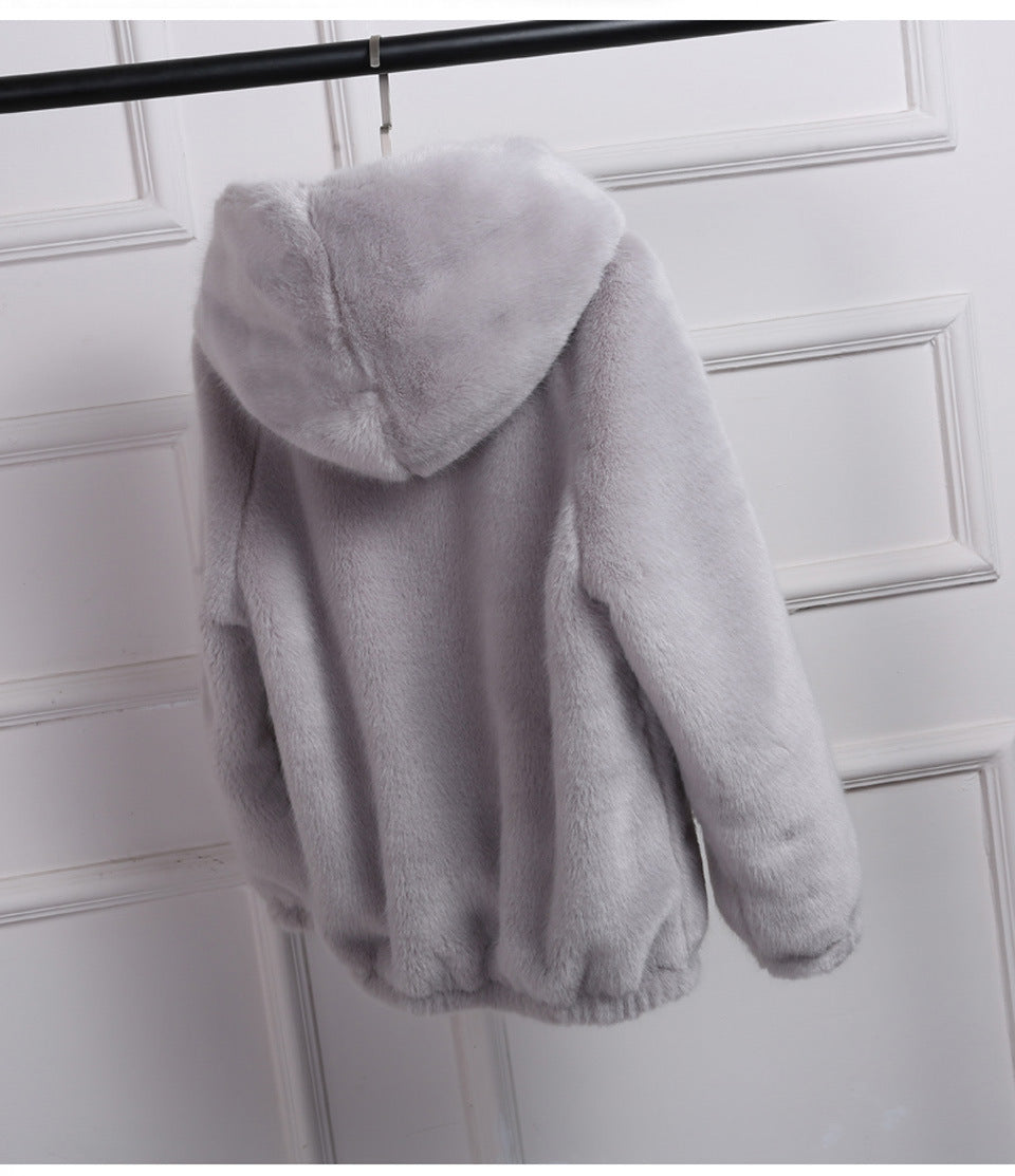 Faux Fur Zip Hoodie Jacket in Grey