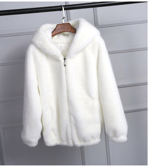 Faux Fur Zip Hoodie Jacket in White