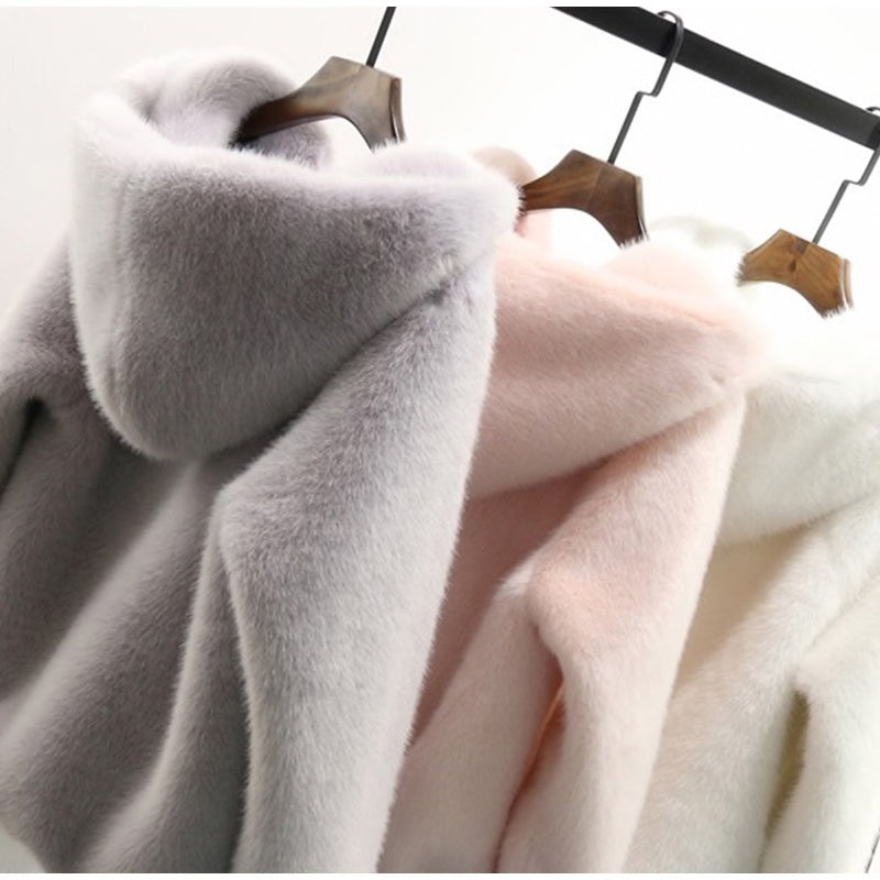 Faux Fur Zip Hoodie Jacket in Pink