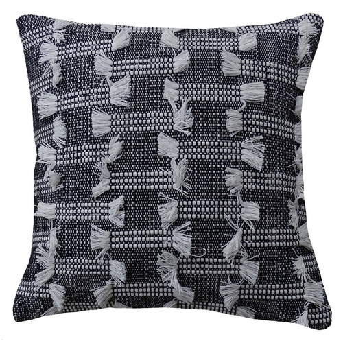 Charcoal Fringe Pillow