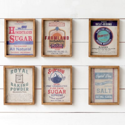 Framed Baking Ingredient Signs