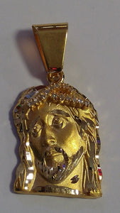 14K Yellow Gold CZ Jesus Face Pendant 8g