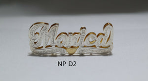 PERSONALIZED DOUBLE NAME PLATE (10k,Silver gold color overlay) 2.2mm Cuban chain
