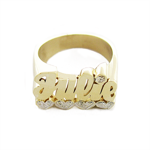 Women 10k Solid Gold Name Ring