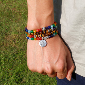 Tree Life 7 Chakra A Tiger Eye Beaded Bracelet
