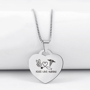 Today Only 60% Off 😍  Peace Love Nursing👩🏼‍⚕️ Heart Pendant Necklace