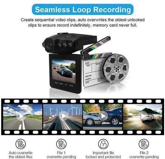 HD Wide Angle 1080p Rotating Dash Cam Video Recorder