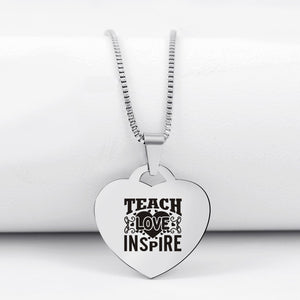Today Only 60% Off 🍎  Teach Love Inspire Heart Pendant Necklace