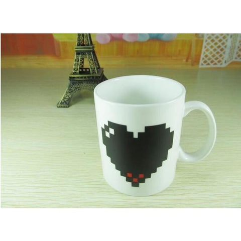 Pixel Heart Temperature Sensitive Mug Household