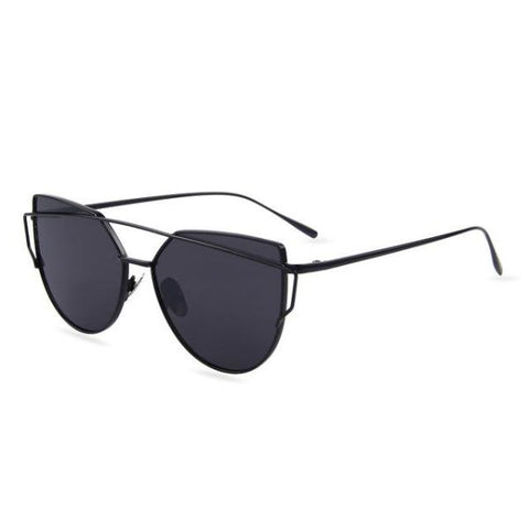 Stylish Twin-Beams Cat Eye Sunglasses Black Frame Gray Sunglasses