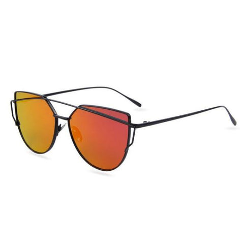 Stylish Twin-Beams Cat Eye Sunglasses Black Frame Red Sunglasses