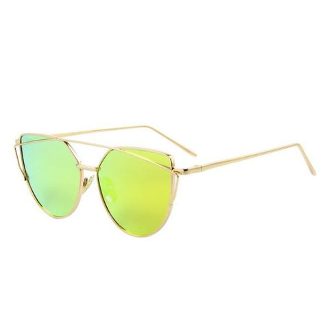 Stylish Twin-Beams Cat Eye Sunglasses Gold Frame Sunglasses