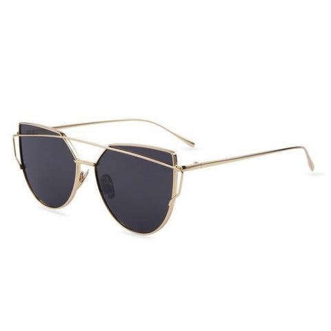 Stylish Twin-Beams Cat Eye Sunglasses Gold Frame Gray Sunglasses