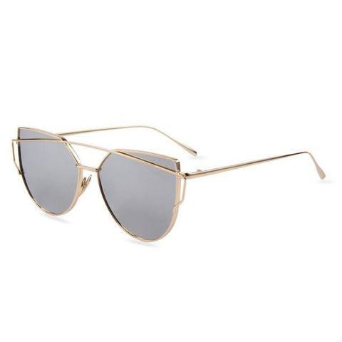 Stylish Twin-Beams Cat Eye Sunglasses Gold Frame Silver Sunglasses